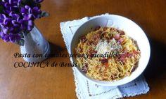 COCINICA de Benas: Tagliolini con tomates secos y picadillo