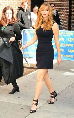 PRESS: Jennifer Lawrence at the Late Show with David Letterman today (3/20). Those shoes are hot. She will also be on Good morning America tomorrow morning.
