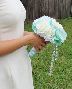 Hey, I found this really awesome Etsy listing at https://www.etsy.com/listing/183975907/tiffany-blue-rose-bouquet-blue-and-white