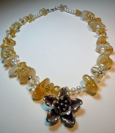 natural citrine necklace, handmade jewelry  #handmade #jewelry