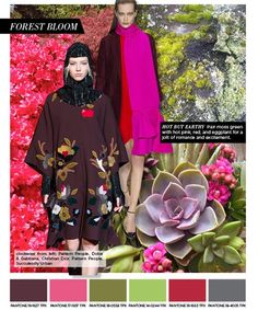 winter 2015 color trends, forest bloom- redo kimono styles in Rich shades of hot pink and maroon with earthy, calming greens for a vibrant jolt of energy.