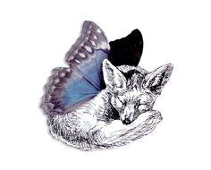 Brosche Fuchs Schmetterling Acryl von Dear Prudence auf DaWanda.com
