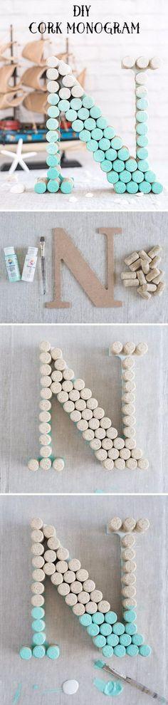 DIY Ombre Wine Cork Monogram Letter