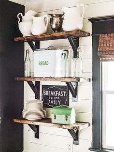 Farmhouse inspired open shelving in the kitchen.
