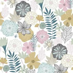 Perennial Blooms Peel and Stick Wallpaper - Roll / Pink