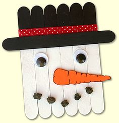 Super cute and easy!  Magnets or ornaments! craft kids, thanksgiving crafts, christmas crafts, kid activities, craft sticks, snowman crafts, popsicle stick crafts, holiday crafts, kid crafts
