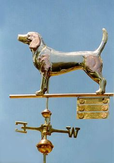 Standing Beagle Dog Weathervane by West Coast Weather Vanes. This copper & brass Beagle Dog weathervane features a glass eye and brass and copper patterns to mimic the spots on this particular customer's dog.