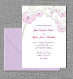 Free PDF Download. Elegant Orchid Invitation Card - Template is very easy to edit and print at home.