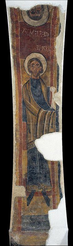12th-cent.Romanesque Frescos of Santa Maria de Taüll.Unknown Romanesque Painter,Catalan (active 1100-1150 in Catalonia) The Prophets Isaiah and Jeremiah from Santa Maria de Taüll. circa 1123. mural. Fresco transferred to canvas.3250x750 mm. Museu Nacional d'Art de Catalunya.