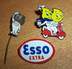 3 X VINTAGE ENAMEL PIN BADGE(ESSO) PETROL/OIL COMPANY