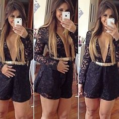 If you are a lace control,then how could you miss this lace jumpsuits? It features deep v-neck and long sleeve design,super seductive and sexy. If paired with a stylish waistband,it would be more glamorous.