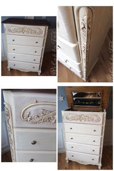 Rehab to Fab transformed this solid oak chest of drawers with @paulablank Heirloom Traditions Paint in Buttermilk. @generalfinishes gel stain in Java & Arm-R-Seal was used on top. Van Dyke brown glaze over the Chalk paint & sealed with Polyvine dead flat wax varnish.