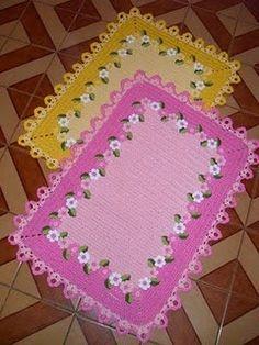Artes em crochê da Lu: Jogo de banheiro com flores