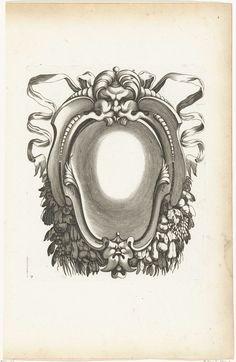 Pierre Firens   Cartouche met guirlandes onderaan, Pierre Firens, Federico Zuccaro, Pierre Mariette (I), 1613 - 1657   Midden boven hangt een mascaron met een knop op het hoofd en linten achter zich.