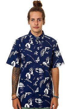The Drunk Aloha Buttondown Shirt in Navy by HUF