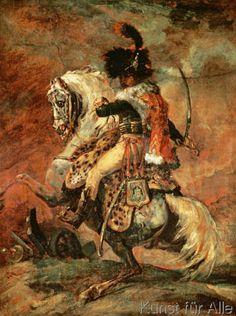 Théodore Géricault - Kavallerieoffizier, auf einem Apfelschimmel reitend
