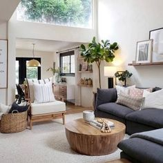 Cozy and light vibes in the beautiful living room of Spacious Living Room, Cozy Living Rooms, Living Room Grey, Living Room Decor, Charcoal Sofa Living Room, Grey Sectional Sofa, Wood Sofa, Living Room Sectional, Charcoal Sectional