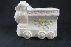 White Pink & Blue Flowered Train Planter  Vintage by CheekyBirdy