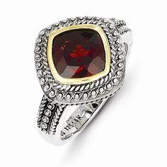 Sterling Silver Gold Garnet Ring