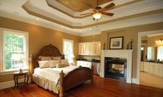 Fireplace-wrapped #bedroom