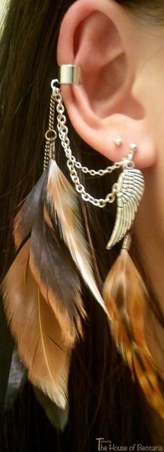 ~Boho Grizzly Feathered Earcuff | House of Beccaria