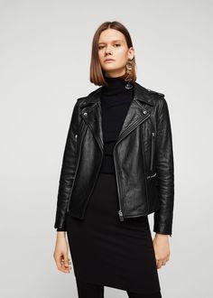 Leather biker jacket - f foBiker jackets Women | MANGO USA