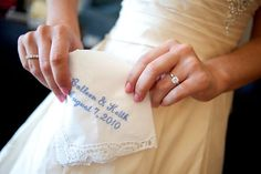 """something blue"": personalized handkerchief with wedding date and names of bride and groom."
