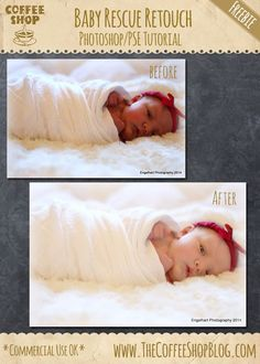 The CoffeeShop Blog: CoffeeShop Photoshop/PSE Tutorial: Baby Portrait Rescue! Includes how to do a blanket fade.