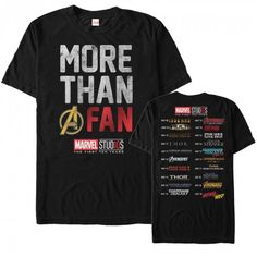 If you are more than a regular old Marvel fan, then you need the Marvel Anniversary More Than a Fan Men's T-Shirt! This awesome front-and-back tee shows off all the Marvel movie releases from Iron Man to the Avengers Infinity War. Avengers Shirt, Marvel Shirt, Avengers Outfits, Marvel Hoodies, Marvel Comics, Marvel Avengers, Marvel Funny, Captain Marvel, Marvel Movie Releases