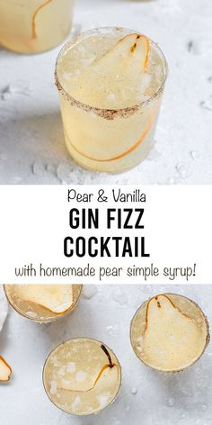 A refreshing Pear Vanilla Gin Fizz with homemade pear vanilla syrup, gin, and soda water. This cocktail recipe with gin is a pear filled twist on a classic! Cocktail Recipes For A Crowd, Cocktail Desserts, Food For A Crowd, Autumn Cocktail Recipes, Cocktails For Parties, Fall Cocktails, Gin Recipes, Fall Recipes, Summer Recipes