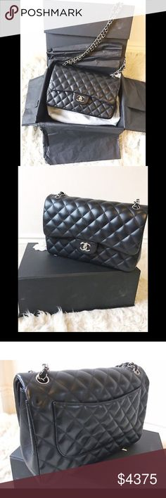 CHANEL CLASSIC MEDIUM FLAP BAG WITH SILVER HW CHANEL CLASSIC BLACK MEDIUM 2.55 LAMBSKIN FLAP BAG WITH SILVER HARDWARE.   Bag is in amazing condition, nearly new and will come in its original packaging with its dustbag, and authenticity card.  Measures: 25.5 x 16 x 7.5 cm  NO TRADES. PRICE ON POSH IS FIRM. SERIOUS BUYERS ONLY!!! CHANEL Bags Shoulder Bags