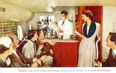 Cocktail time in the lower-deck lounge of B.O.A.C. luxury MONARCH Stratocruiser