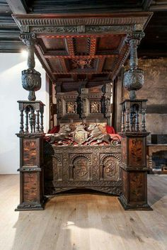 """ A Century four poster bed thought to be one of the oldest in the UK has returned to its original home at a Grade I listed Tudor home in Salford. It was the wedding bed for Sir John Radclyffe and Lady Anne Asshawe who lived at Ordsall Hall and. Medieval Furniture, Victorian Furniture, Antique Furniture, Urban Furniture, Tudor House, Tudor History, British History, Asian History, Medieval Times History"