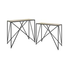 With their cool, contemporary designs, these console tables will easily enliven any living space. Made with wood tabletops and striking metal base designs, this set is perfect for modern or industrial ...  Find the Matrices Console Table - Set of 2, as seen in the Console Tables Collection at http://dotandbo.com/category/furniture/tables/console-tables?utm_source=pinterest&utm_medium=organic&db_sku=113507