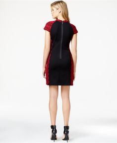 kensie Lace-Detail Ponte Sheath Dress - Dresses - Women - Macy's