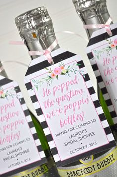 Mini Wine Bottle Bridal Shower Favor Tags  by sosweetpartyshop