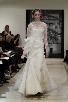 Fashion Friday: Reem Acra Spring/Summer 2012 | http://brideandbreakfast.ph/2011/08/19/fashion-friday-reem-acra-springsummer-2012/ | White sheer serpentina gown