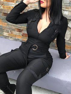 Solid Pocket Design Bandage Belted Jumpsuits jumpsuit jumpsuit jumpsuit out. Sexy Outfits, Fashion Outfits, Womens Fashion, Casual Jumpsuit, Black Jumpsuit, Elegant Jumpsuit, Bodycon Jumpsuit, Jumpsuit Outfit, Satin Jumpsuit