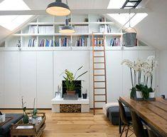 """Résultat de recherche d'images pour """"sous pente esprit loft"""" Furniture, Garage Design, Shelves, Deco, Loft Bed, Shelving Unit, Home Decor, Bed, Inspiration"""