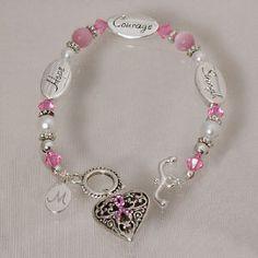 Engraved Breast Cancer Awareness Bracelet