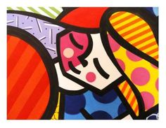 quadro pintura em tela heart kids - romero britto