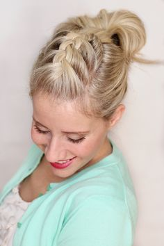 """This is one of my favorite """"mom"""" hairstyles. It takes a couple of minutes and keeps your hair out of your face and off your neck. The shape of the hairstyle is really pretty and flattering. It's a great """"I…"""