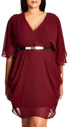 Plus Size Belted Chiffon Faux Wrap Dress