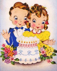 Please Come Vintage Birthday Invitation Greetings Card Happy Birthday Vintage, Retro Birthday, Kids Birthday Cards, Vintage Invitations, Birthday Invitations, Vintage Pictures, Vintage Images, Vintage Clip, Decoupage Vintage