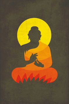 Buddha on Lotus Silhouette Paper Print - Minimal Art, Religious posters in India