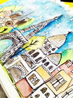 Paris sketch with sharpie fine point and watercolor becomes background for photo