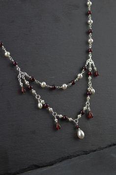 Tudor Renaissance necklace, garnet or amethyst, freshwater pearls, teardrops faceted garnet or amethyst and pearls, Sterling silver. by LysAndRose on Etsy https://www.etsy.com/uk/listing/461684578/tudor-renaissance-necklace-garnet-or