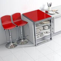 Table de cuisine coulissante en verre - fixation plan de travail - Mercury - 2