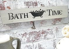 Bathroom Sign Wooden Painted Plaque - decorative accessories £20