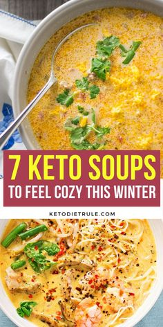 Looking for the perfect hearty keto soup? Here are over 7 of the best and most delicious low carb keto diet soups that will keep you full. Perfect for cold winter days and quick for dinner or light lunch. Healthy Low Carb Recipes, Low Carb Dinner Recipes, Healthy Soup, Ketogenic Recipes, Keto Dinner, Low Carb Keto, Ketogenic Diet, Low Carb Soups, Low Carb Meals